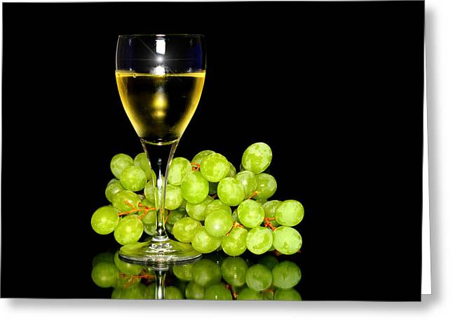 Raisin Greeting Cards - Green grapes and a glass of white wine  Greeting Card by Toppart Sweden