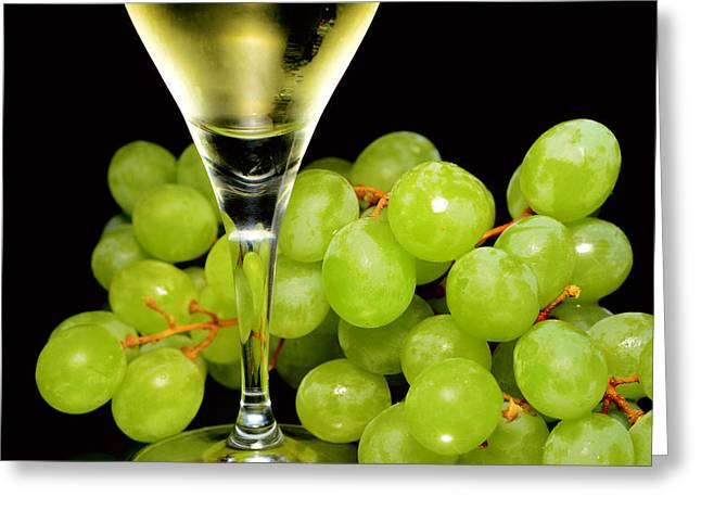 Raisin Greeting Cards - Green grapes and wine Greeting Card by Toppart Sweden