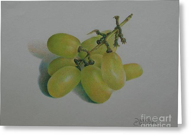 Bunch Of Grapes Drawings Greeting Cards - Green Grapes Greeting Card by Pamela Clements