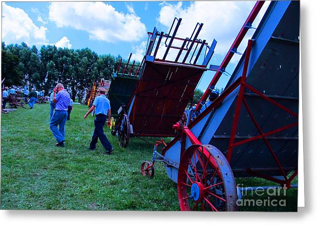 Amish Community Greeting Cards - Green Grass and Old Equipments Greeting Card by Tina M Wenger