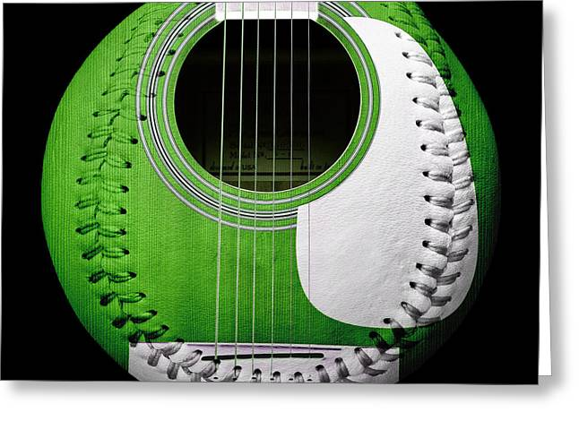 Take-out Digital Art Greeting Cards - Green Guitar Baseball White Laces Square Greeting Card by Andee Design