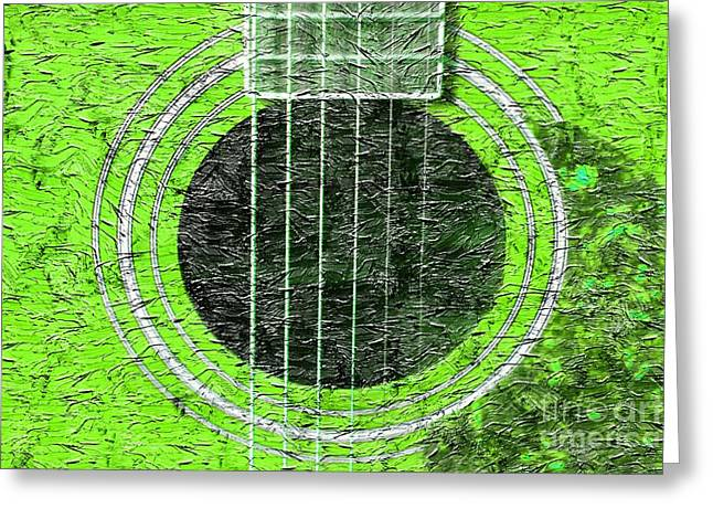 Green Barbara Griffin Art Greeting Cards - Green Guitar - Digital Painting - Music Greeting Card by Barbara Griffin