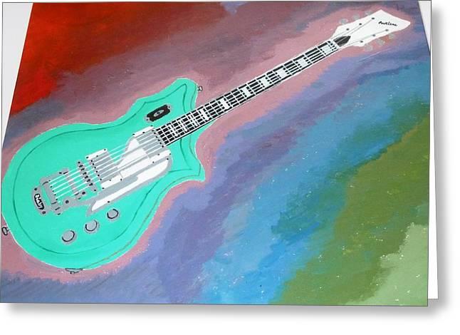 Green Guitar Greeting Card by Magdalena Frohnsdorff