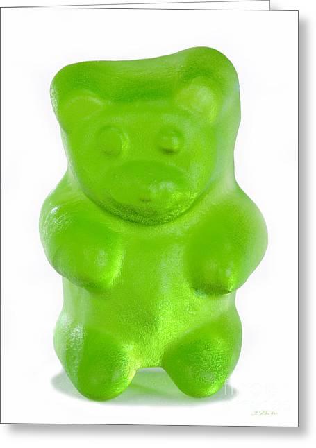 Gummi Candy Greeting Cards - Green Gummy Bear Greeting Card by Iris Richardson