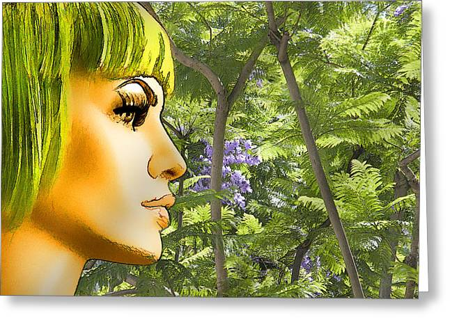 Luna Greeting Cards - Green Hair and Jacaranda  Greeting Card by Chuck Staley