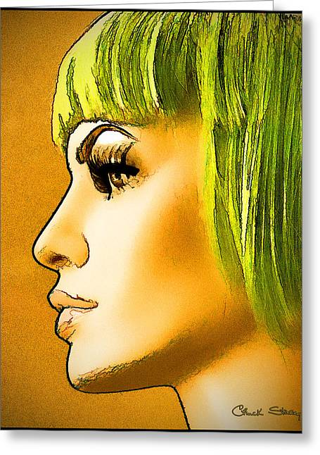 Luna Greeting Cards - Green Hair Greeting Card by Chuck Staley