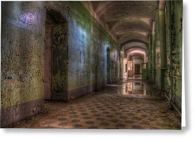 Ddr Greeting Cards - Green hallway Greeting Card by Nathan Wright