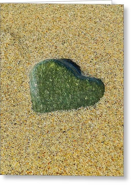 Heart Rocks Greeting Cards - Green Heart Greeting Card by Liz Vernand