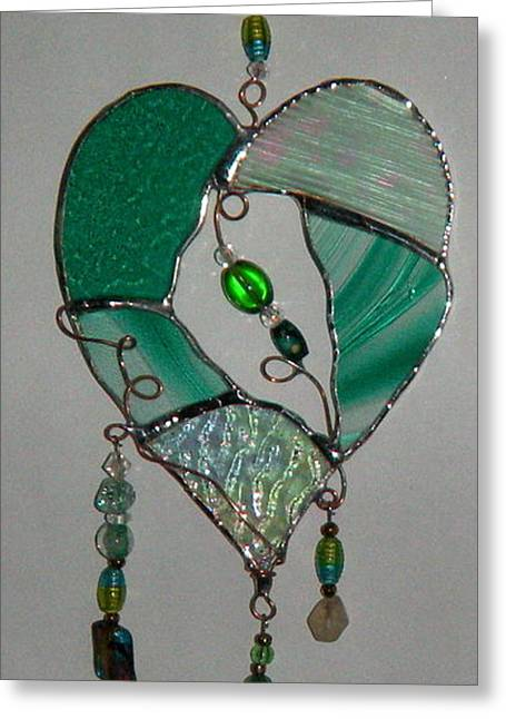 Glass Beads Glass Art Greeting Cards - Green Heart Greeting Card by Nora Solomon