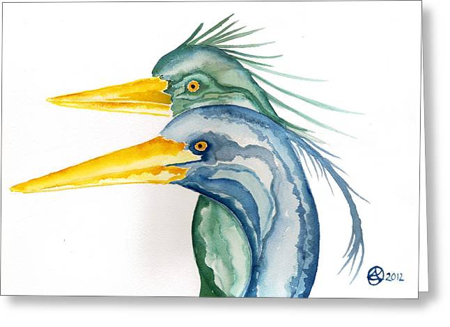 Lady Tapestries - Textiles Greeting Cards - Green Herons Greeting Card by Alexandra  Sanders