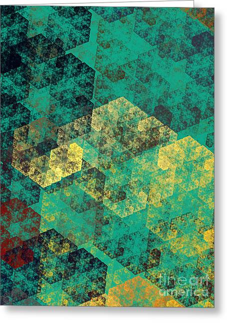 Geometric Shape Greeting Cards - Green Hexagon Fractal Art 3 Of 3 Greeting Card by Andee Design