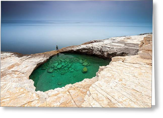Aegean Sea Greeting Cards - Green Hole Greeting Card by Evgeni Dinev