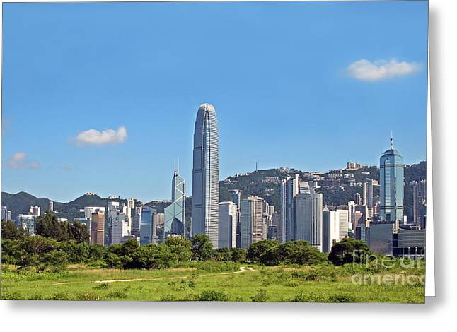 Hongkong Greeting Cards - Green Hong Kong Skyline Greeting Card by Lars Ruecker
