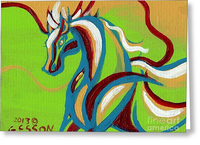 Alizarin Crimson Greeting Cards - Green Horse Greeting Card by Genevieve Esson
