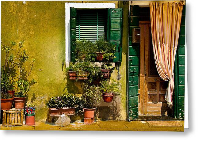 Old House Photographs Greeting Cards - Green House Burano Italy Greeting Card by Xavier Cardell