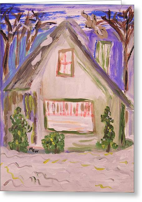 Snowstorm Drawings Greeting Cards - Green House Colorful Snow Greeting Card by Mary Carol Williams