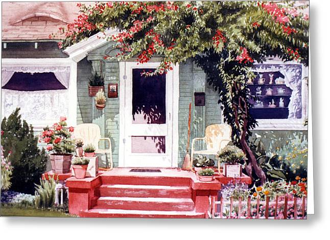 Portaits Greeting Cards - Green House Third Street Encinitas Greeting Card by Mary Helmreich