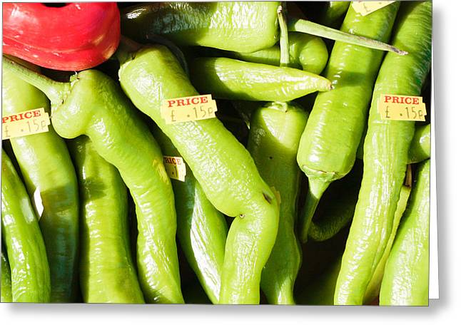 Jalapeno Greeting Cards - Green jalpeno peppers Greeting Card by Tom Gowanlock