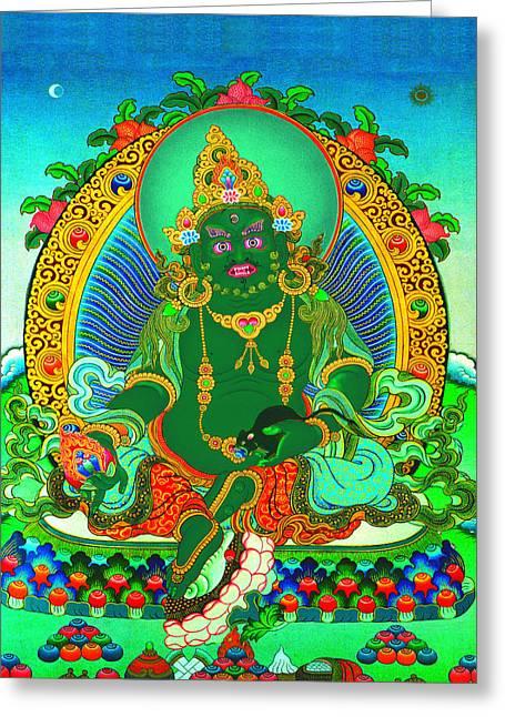 Full Of Wisdom Greeting Cards - Green Jambhala  1 Greeting Card by Lanjee Chee