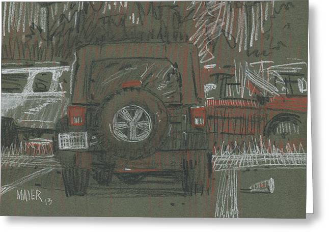 Parked Cars Greeting Cards - Green Jeep Greeting Card by Donald Maier