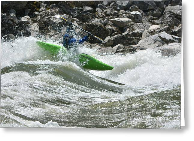 Frank Church River Of No Return Greeting Cards - Green Kayak on the Salmon Greeting Card by Kevin Felts