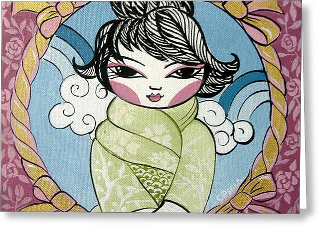 Little Reliefs Greeting Cards - Green Kimono Greeting Card by Cris Pires