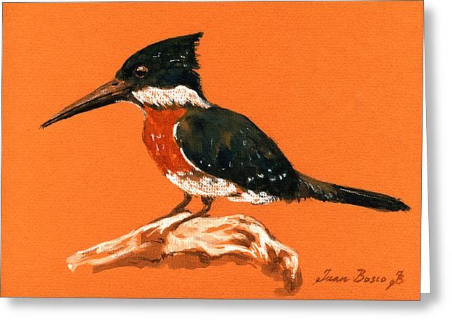 Green Kingfisher Greeting Card by Juan  Bosco