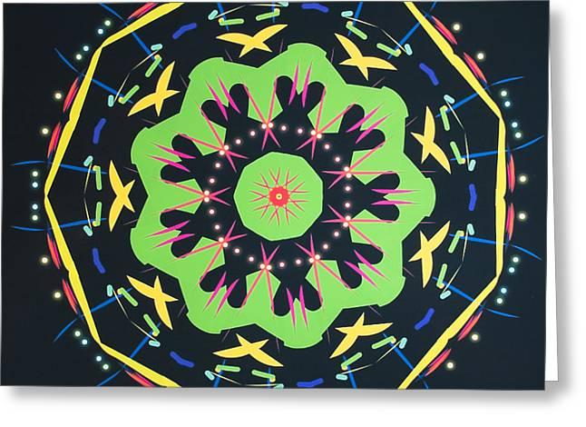 Geometric Design Greeting Cards - Green Kolide  Greeting Card by Barbara Snyder