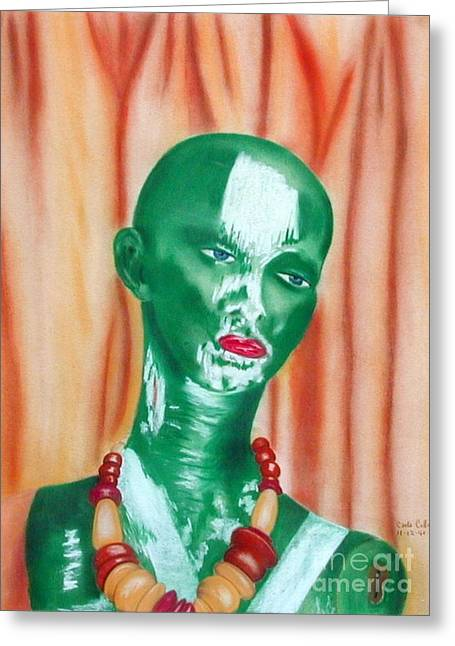 Green Lady Greeting Card by Carla Jo Bryant