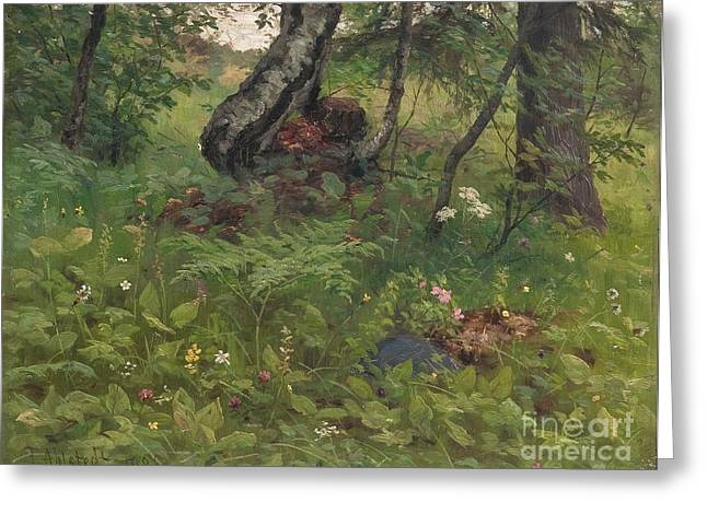 Oslo Paintings Greeting Cards - Green Landscape Greeting Card by Fredrik Ahlstedt