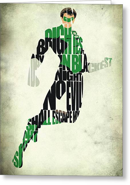 Typographic Digital Art Greeting Cards - Green Lantern Greeting Card by Ayse Deniz