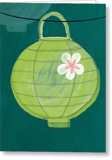 Balance Greeting Cards - Green Lantern  Greeting Card by Linda Woods