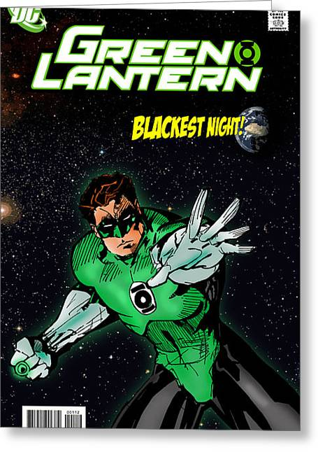 Book Cover Art Greeting Cards - Green Lantern Greeting Card by Mark Rogan