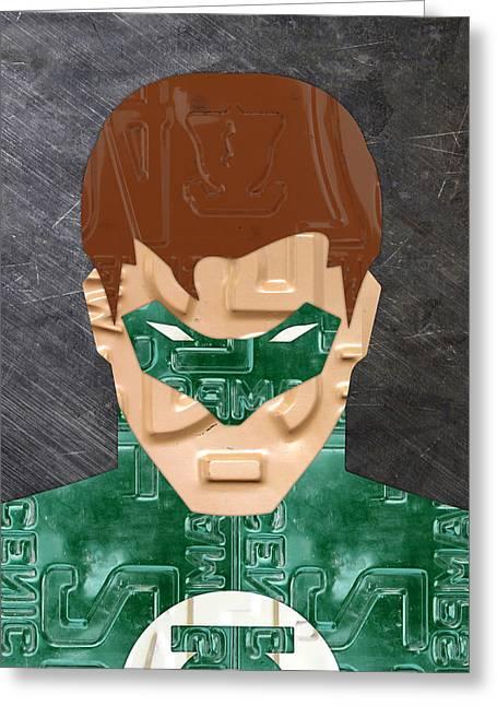 Green Lantern Greeting Cards - Green Lantern Superhero Portrait Recycled License Plate Art Greeting Card by Design Turnpike