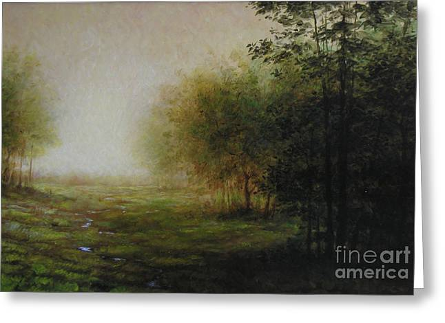 Green Greeting Card by Larry Preston
