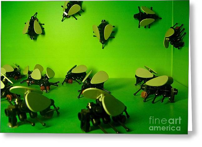 Green Lego Flies Greeting Card by Amy Cicconi