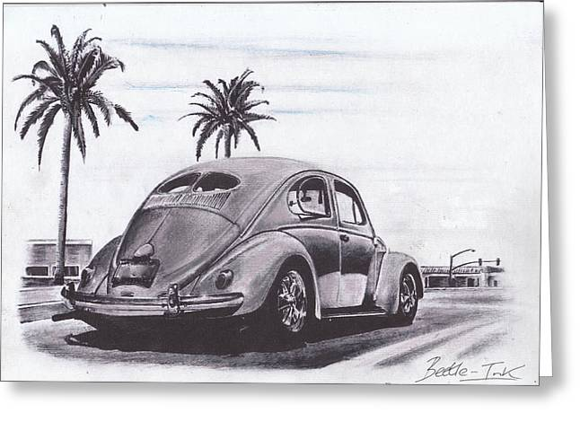 Vw Beetle Pastels Greeting Cards - Green light Greeting Card by Art-Haus-Ink
