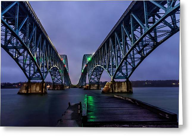 Buffalo Greeting Cards - Green Light on the pier below Twin spans on a misty dawn Greeting Card by Chris Bordeleau