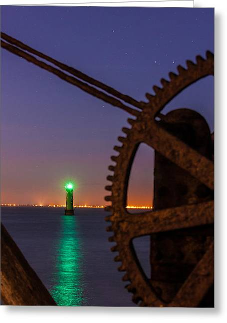 Davit Greeting Cards - Green Lighthouse Greeting Card by Semmick Photo