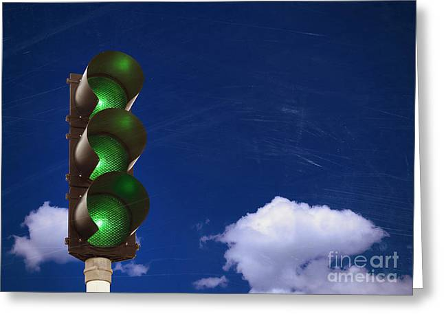 Traffic Control Greeting Cards - Green lights Greeting Card by Carsten Reisinger