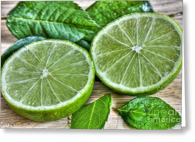 Green Limes And Mint  Mojito Greeting Card by Tracy  Hall