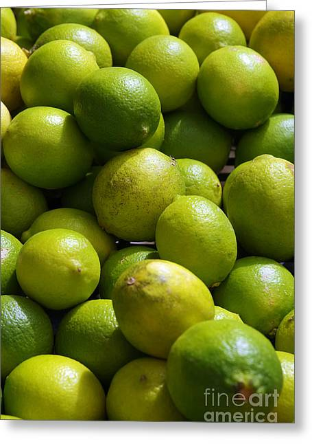 Green Limes Greeting Card by Carlos Caetano