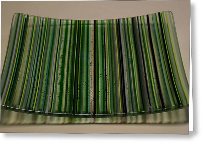Stripes Glass Art Greeting Cards - Green Linear Plate Greeting Card by Rosalind Duffy