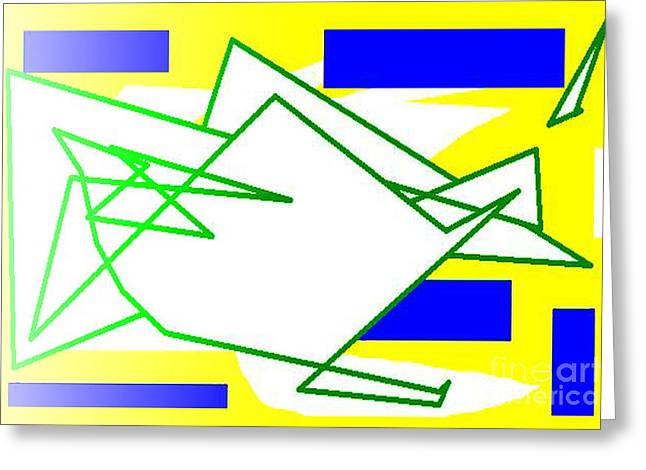 Installation Art Greeting Cards - Green Lines Greeting Card by Tina M Wenger