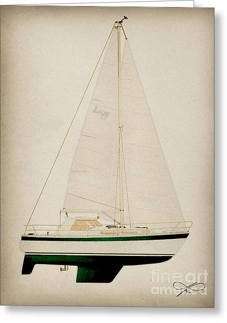 Blue Sailboats Drawings Greeting Cards - Green LM Greeting Card by Regina Marie Gallant