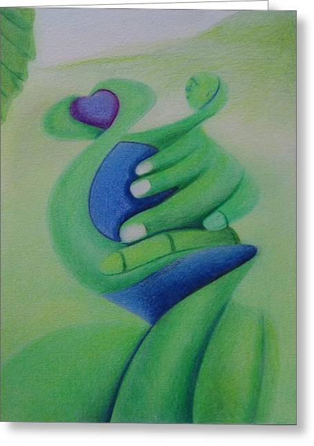 Carita Greeting Cards - Green Love Greeting Card by Extranjerocus