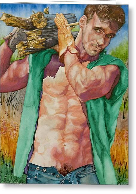 Homoerotic Paintings Greeting Cards - Green Lumberjack Greeting Card by Xavier Francois