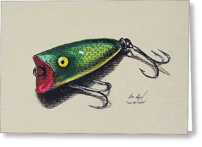 Yellow Line Drawings Greeting Cards - Green Lure Greeting Card by Aaron Spong