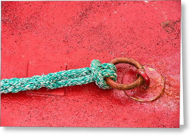 Red And Green Photographs Greeting Cards - Green marine rope on red ship Greeting Card by Matthias Hauser