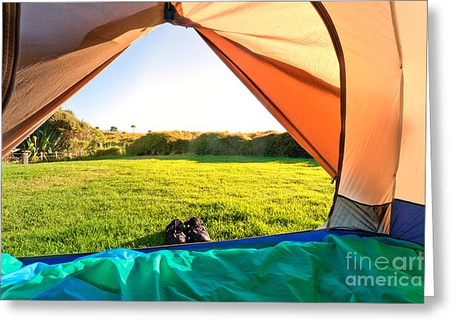 Clear Shoes Greeting Cards - Green meadow and forest seen thru open tent door Greeting Card by Stephan Pietzko